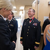Brigadier General Jeff Bertrand greets cadets as they enter an ROTC dinner and award ceremony where Bertrand was inducted into the ROTC Hall of Fame. Bertrand is retired from the army and is the superintendent for New Ulm Public Schools. Photo by Jackson Forderer