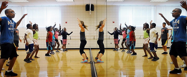 John Cross<br /> Youth from Minneapolis participate in a fitness session during a STEM Camp at Minnesota State University.