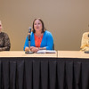 Katie Boone (center), a candidate for Blue Earth County Commissioner, introduces herself at a forum held at Minnesota State University on Tuesday. Boone was joined by fellow candidates Tamera Hansen (left) and Colleen Landkamer (right). Photo by Jackson Forderer