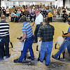 John Cross<br /> A gallery of friends and family watch as a judge scrutinizes entries at the Tri-County Fair on Wednesday.