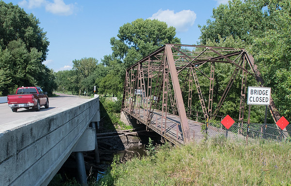 Truss Bridge #6527 (right) is currently closed on the outskirts of Madelia. Photo by Jackson Forderer