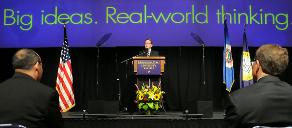 Minnesota State University president Richard Davebort, speaks to faculty and staff members at his annual President's Convocation on Monday at the Centennial Student Union ballroom. Photo by John Cross