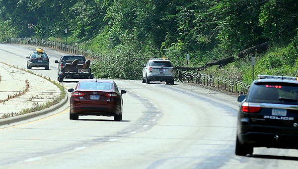 A fallen tree blocks one of the southbound lanes of State Highway 169 near Seven Mile Creek Park Saturday afternoon. Photo by Pat Christman