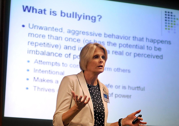 Mayo Clinic Health System clinical socail worker Maureen Tanis discusses the effects of bullying during a presentation Tuesday.