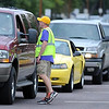 John Cross<br /> Lines of traffic await directions to unloading zones Thursday during MSU's Move-In Day.