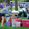 John Cross<br /> Student stack their belongings at curbside Thursday during MSU's Move-In DAy.