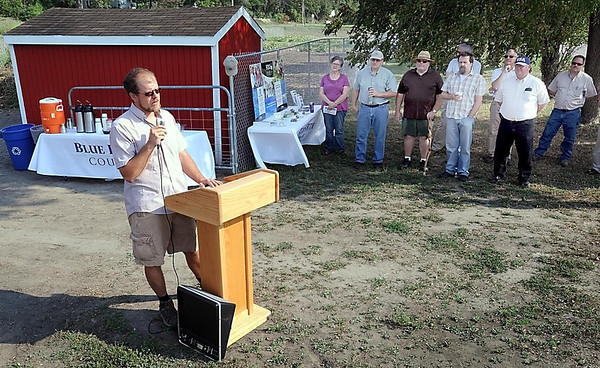 John Cross<br /> Joe Domeir, who oversees the Blue Earth County Community Farm, gives a report on the site's inaugural season Thursday during an open house.