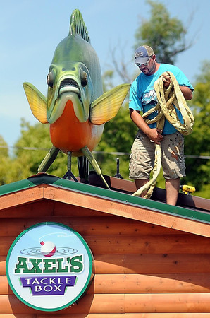 John Cross<br /> The whopper sunfish in place, Adam Scholljegerdes, an artist and sculpture with Brushwork in Faribault, gathers up gear  used to hoist it into position on Axel's Tackle Box in Waterville on Monday.