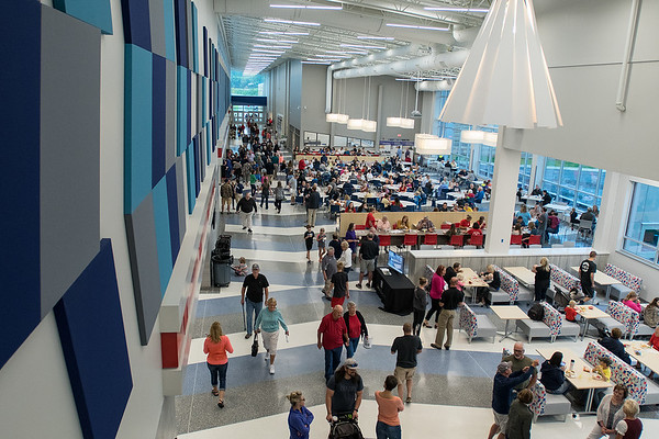 The cafeteria and commons area at the new St. Peter High school during an open house on Saturday. The new facility was built after a nearly $59 million bond referendum was passed in March 2015. Photo by Jackson Forderer