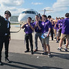 Tyler Stargardt takes a selfie with MSU students. Stargardt has been flying for 6 years. Photo by Jackson Forderer