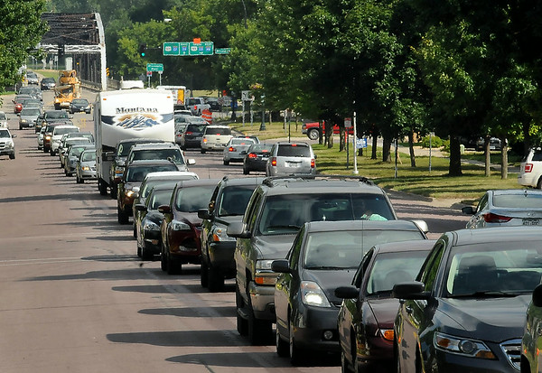 Detoured northbound Highway 169 traffic creeps along bumper-to-bumper on Broadway Avenue in St. Peter on Friday afternoon. Photo by John Cross