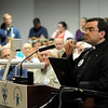 John Cross<br /> Father Joseph LoJocono of St. Peter & Paul's Catholic Church addresses the Mankato City Council Monday during a forum on the Marriage Amendment.