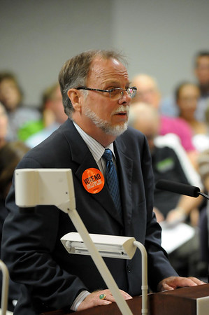 John Cross<br /> Phil Reitan, who has a law office in Mankato, speaks to Mankato City Council e\members Monday at a forum on the Marriage Amendment.
