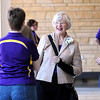 Former Minnesota State University president Margaret Preska talks with visitors during an open house of the new residence hall that bears her name Friday.