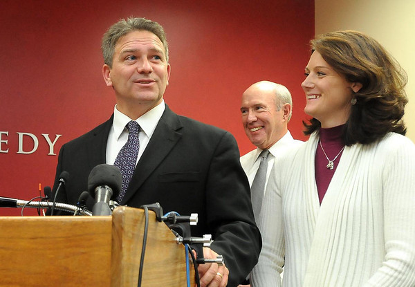 File photo<br /> Todd Hoffner, shown here late last year with his wife Melodee, is in his fifth day of arbitration with MSU over his termination with the university.