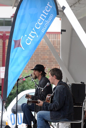The acousitc duo Hobo Nephews of Uncle Frank play during Alive After Five Thursday in Jackson Park.