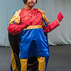 Zach Bolland, playing Lord Farquaad in Shrek the Musical, dances in his outfit before the start of the second act during a rehearsal at Centenary Methodist Church. Photo by Jackson Forderer
