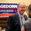 Republican 1st Congressional District candidate Jim Hagedorn talks with a supporter during a gathering Tuesday in Mankato. Photo by Pat Christman