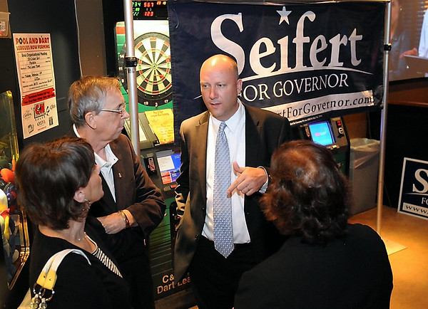 Republican gubernatorial candidate Marty Seifert speaks with supporters during a gathering Tuesday night in Mankato. Photo by Pat Christman
