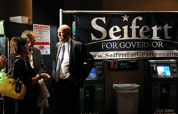Republican gubernatorial candidate Marty Seifert talks with supporters while waiting for primary election results Tuesday in Mankato. Photo by Pat Christman