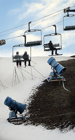 John Cross<br /> Snow-making machines are poised and ready beneath skiers at Mount Kato as the pass over the edge of the snow line. A stretch of cold weather has allowed the Mankato ski area to open on a limited basis. However, unseasonably mild weather more recently has silenced the machines.