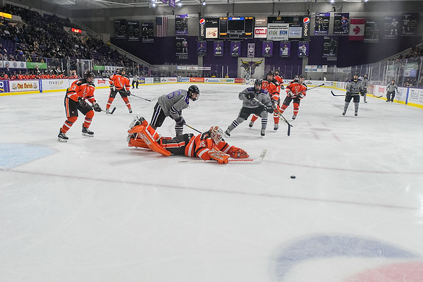 Bowling Green goalie Ryan Bednard (center) gets caught outside of his goal crease in a game against Minnesota State played at the Verizon Center on Nov. 17, 2017. Photo by Jackson Forderer