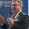 "Dr. James Hebl, Mayo Clinic Health System regional vice president, addresses the audience at the unveiling of the new operating rooms expansion on Wednesday. ""This is one of several changes coming to truly transform the Mankato campus into a major Mayo Clinic regional medical center,"" Hebl said at the unveiling. Photo by Jackson Forderer"