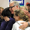 U.S. Congressman Tim Walz hugs supporters after arriving at the DFL election gathering Tuesday night at the City Center Hotel in Mankato. Walz defeated Republican challenger Allen Quist for the Minnesota District 1 House seat.