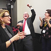 DFL gubernatorial candidate Tim Walz and his running mate, state Rep. Peggy Flanagan, celebrate as the race is called for Walz over GOP candidate Jeff Johnson on Nov. 6, 2018 in St. Paul, Minn.