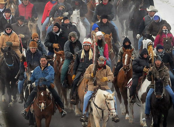 Dakota riders who came from South Dakota arrive in downtown Mankato on Dec. 26 of last year to commemorate those who were executed nearly 150 years ago.