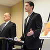 Pat Christman<br /> Sexual abuse attorney Mike Flannigan, center, and St. Cloud attorney Mike Bryant discuss a lawsuit filed requesting the release of the 12 names of accused and admitted child molesters from the Diocese of New Ulm Thursday at the Hilton Garden Inn.