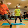 "From left, Jared Kromback, Winnis Buesing and Deloris Smestad work out during a Pound Fitness class in St. Clair. Instructor Laurie Thorstad said that it takes two to three classes to ""catch the drift"" in learning the coordination and rhythm of the workout. Photo by Jackson Forderer"