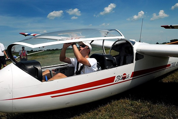 Ben Leaf, 15, closes the canopy on a glider as he prepares for his second solo flight Thursday during the Civil Air Patrol's flight academy at the Mankato Municipal Airport. File photo