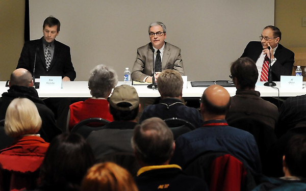 House District 19A candidates (from left) Tim Gieseke of the Independent Party, Democrat Clark Johnson and Republican Allen Quist participate in a candidate forum at the Traverse Des Sioux Treaty Site in St. Peter on Tuesday.