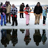 John Cross<br /> Area grade school student try their hand at wielding ice saws at an ice harvest on Waseca's Clear Lake on Wednesday.