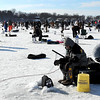 Anglers try their luck during the Big Bobber Ice Fishing Contest Saturday on Lake Washington. More than 1,300 tickets were sold for the fundraiser for MSU athlete scholarships.