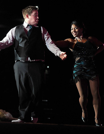 Pat Christman<br /> Hot 96.7 radio personality Stunt Monkey dances with Jen James during Dancing with the Mankato Stars Saturday.