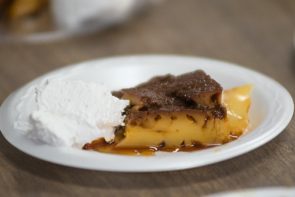 A piece of flan made by Argentinian exchange students at Mankato Loyola. The flan was served by the students as a dessert with lunch on Wednesday. Photo by Jackson Forderer