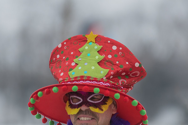 Jim Parrish from Eagan donned a Christmas hat for his ninth time jumping in the Polar Plunge. Photo by Jackson Forderer