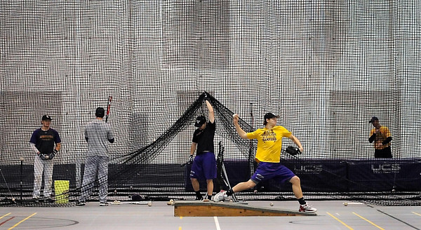 Minnesota State University baseball players go through spring training practice Wednesday at Myers Field House.