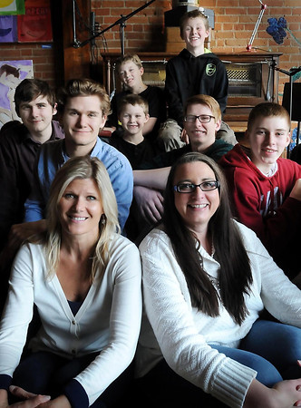 front row, left to right: Jen Tre, Heather Sandland<br /> second row, lef to right: True's boys Tanner and Tyler Meihak, Avery True; Sandland's boys, Ezra and Noah Sandland. Back row, left to right: True's boys, Nova and Isaac True. Not pictured, Skyler Sandland.