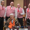 From left, Tom Schubbe, Matt Strum, David Scott and Jerry Morton sing a rose-themed song for Rose Fromm at Ecumen Pathstone Living on Valentine's Day. Three quartets from the Riverblenders delivered singing Valentines to roughly 90 different groups and individuals on Wednesday in Mankato and surrounding cities. Photo by Jackson Forderer