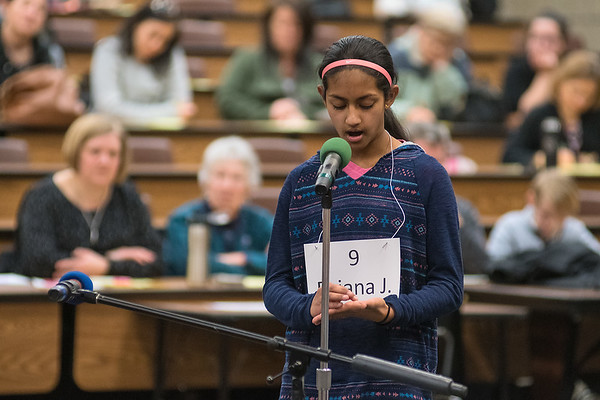 Briana Joseph from Fairmont spells out a word on her hand during the first round of the Regional Spelling Bee held at South Central College on Tuesday. Photo by Jackson Forderer