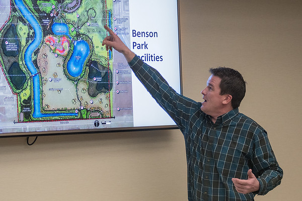 North Mankato Public Works Director Brad Swanson points out proposed upgrades to Benson Park during a presentation on Thursday on the city's parks plans. Photo by Jackson Forderer