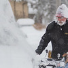 Billy Steiner snowblows snow off his sidewalk along Belgrade Avenue on Wednesday. The City of North Mankato has issued a snow emergency for the first time in 10 years that will last until Thursday at 6 p.m. Photo by Jackson Forderer