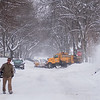 The City of North Mankato called a snow emergency for the first time in 10 years. The snow emergency runs until 6 p.m. on Thursday. After the street is plowed, cars can park on the street. Photo by Jackson Forderer