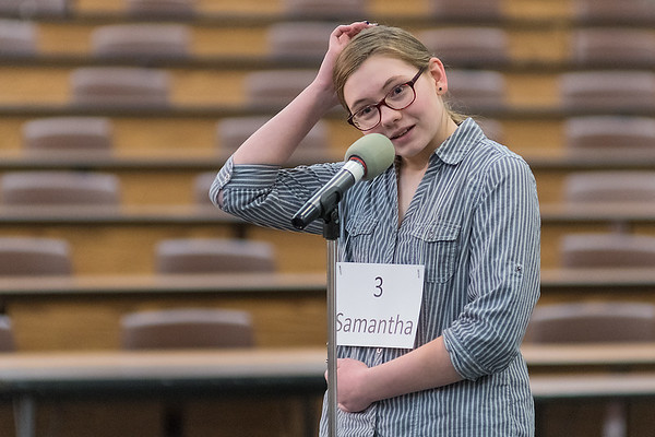 Samantha Wondra from Cleveland Public Schools takes a moment while thinking how to spell the word haiku at the 2019 Regional Spelling Bee held at South Central College on Tuesday. Alayna Vogel from Le Suer-Henderson Middle School won the spelling bee and will head to Washington D. C. for the national spelling bee. Photo by Jackson Forderer