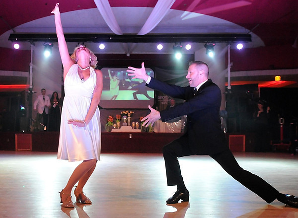 """Exclusively Diamonds owner Sarah Person and Paul Finocchiaro dance to """"Diamonds Are a Girl's Best Friend"""" during Saturday's Dancing With the Mankato Stars. The couple won the inaugural event."""