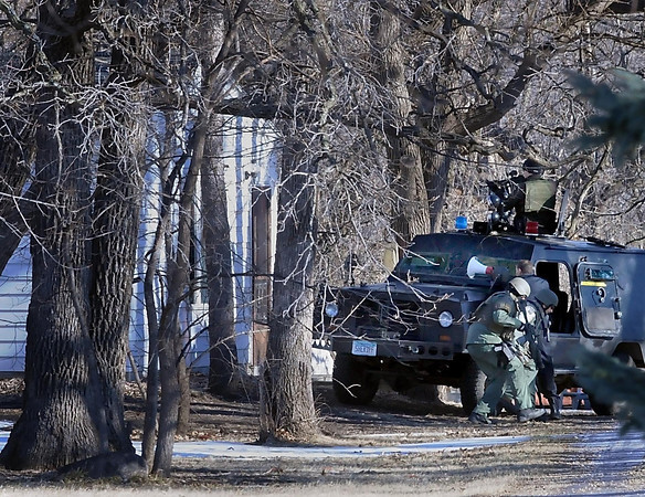 Officers from the River Valley Tactical Response Team were dressed in military clothing and using a military vehicle when they attempted to get Lloyd Tschohl out of his house Jan. 17 because they were concerned about his welfare.