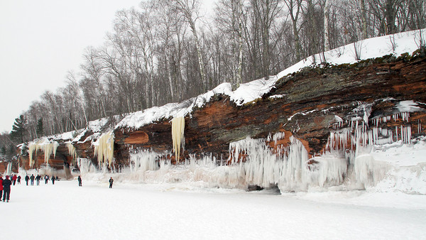 Pat Christman<br /> The ice caves along Lake Superior's shore stretch for more than a mile and require a round trip hike of more than two miles to reach.